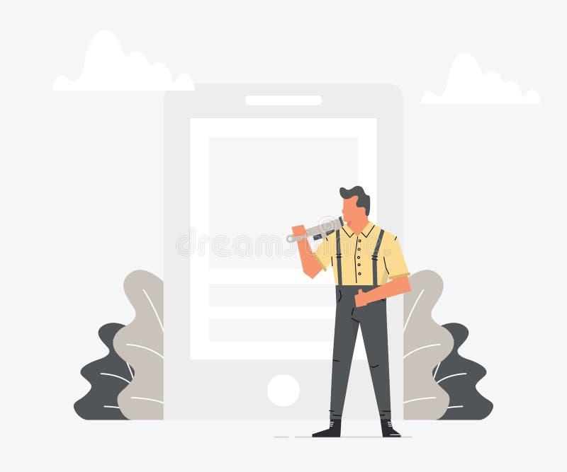 Förlagen i arbetskläder med en skruvnyckel är den stora smartphonen för reparationen Man som reparerar den brutna mobiltelefonen  stock illustrationer