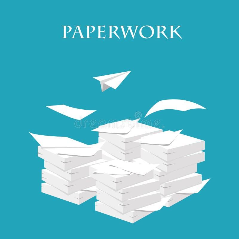 förlagor Bunt hög av papper Skrivbordsarbete och rutin Vektor mig royaltyfri illustrationer
