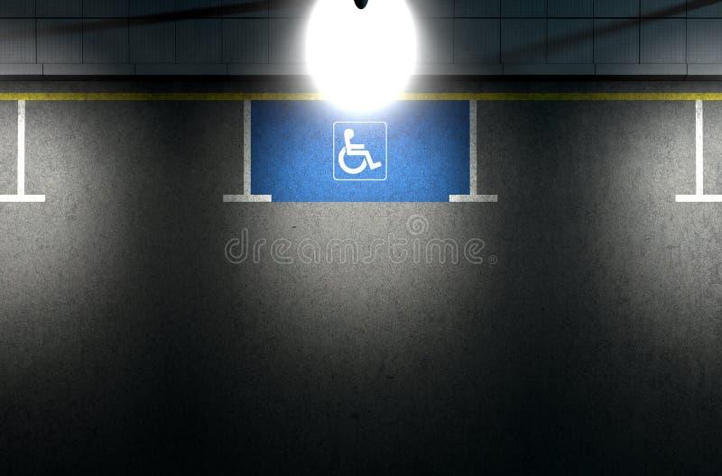 Förlamad i båda benen parkeringsplats fotografering för bildbyråer