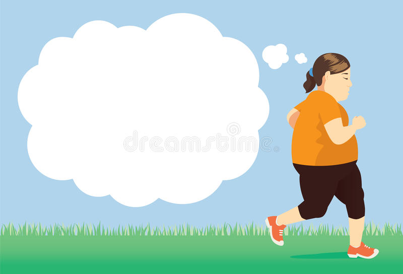 Förlora vikt med försöket som in joggar, parkerar vektor illustrationer