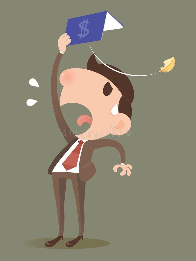 Förlorande pengar för affärsman från en bankbok stock illustrationer