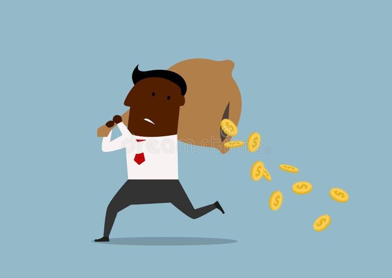 Förlorande pengar för tecknad filmaffärsman från påse royaltyfri illustrationer
