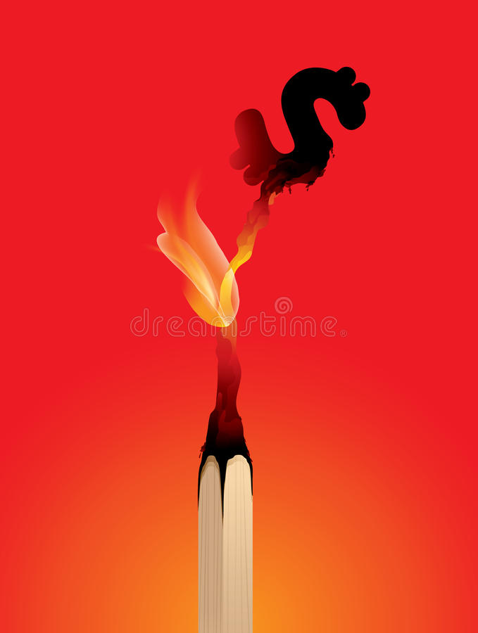 Förlorande pengar, Matchstickbränning, risk, finans royaltyfri illustrationer