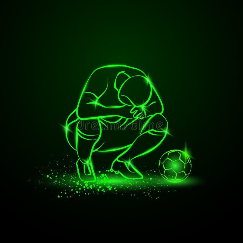 Förlorarefotbollspelaren squatted på hans höfter och fällde ned hans huvud Grön neonsportillustration royaltyfri illustrationer