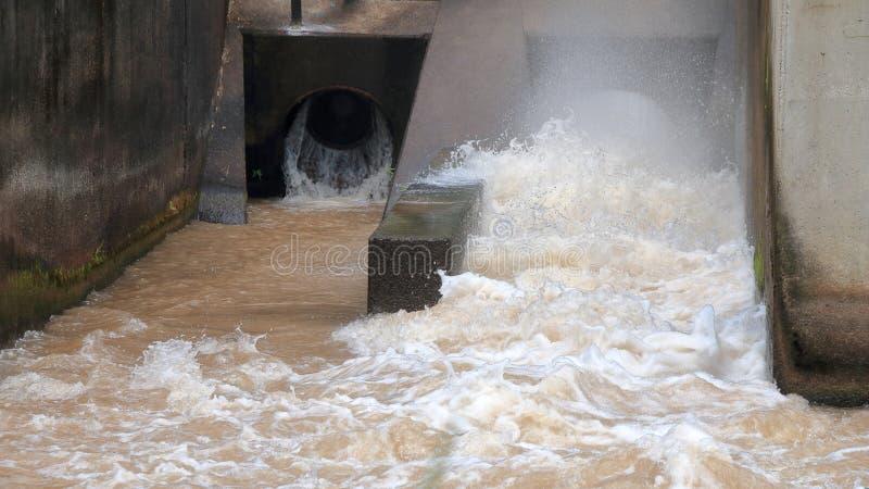 Förlorat vatten som flödar från stadsavrinningröret royaltyfri fotografi