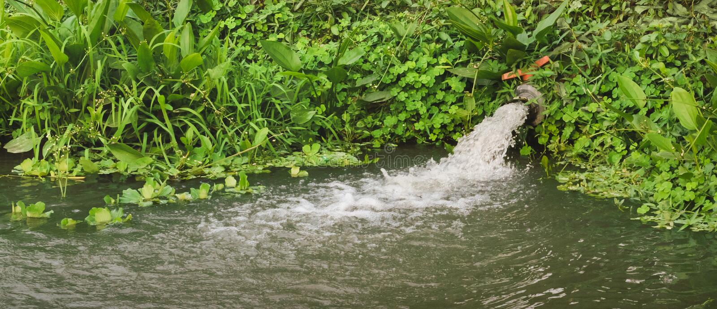 Förlorat vatten som tömmer från röret fotografering för bildbyråer