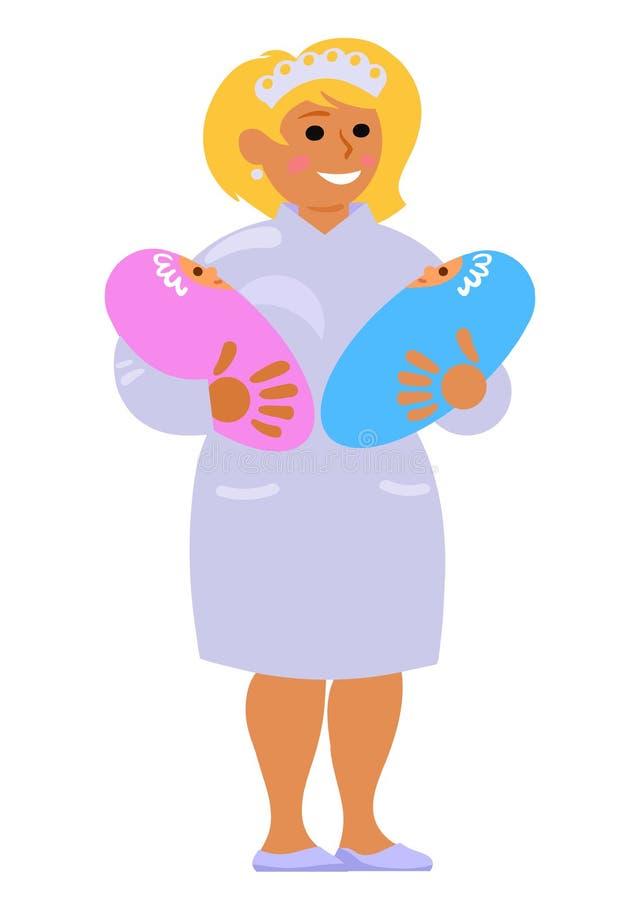 Förlossningssköterskan som rymmer två, behandla som ett barn Le att bära för barnmorska kopplar samman den främmande tecknad film vektor illustrationer