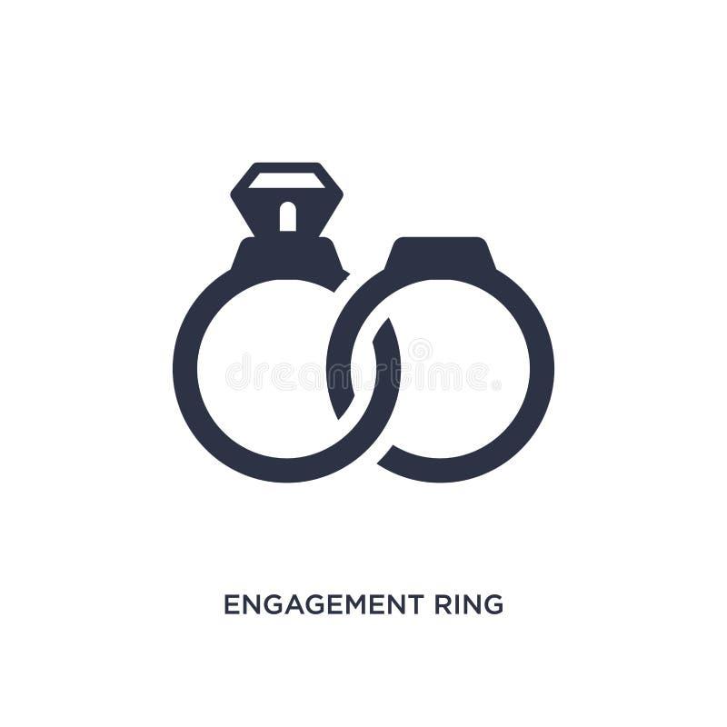 förlovningsringsymbol på vit bakgrund Enkel beståndsdelillustration från förälskelse- & bröllopbegrepp vektor illustrationer