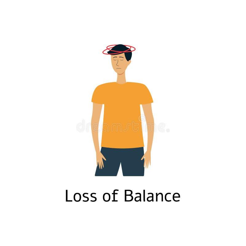 Förlust av jämvikt - tecken av slaglängden Yr man med sjuk svindelkänsla royaltyfri illustrationer