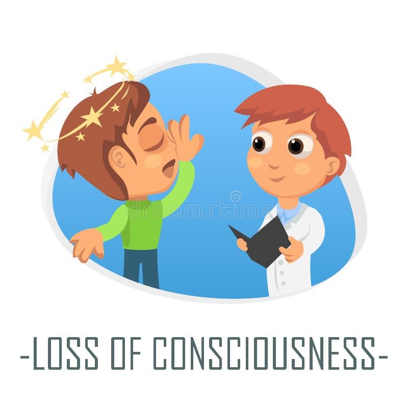 Förlust av medvetenhetläkarundersökningbegreppet också vektor för coreldrawillustration stock illustrationer