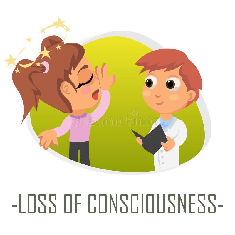 Förlust av medvetenhetläkarundersökningbegreppet också vektor för coreldrawillustration royaltyfri illustrationer