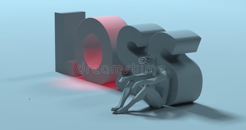 Förlust - 3d framför texttecknet, nära ledsen olycklig man, illustrationen royaltyfri illustrationer
