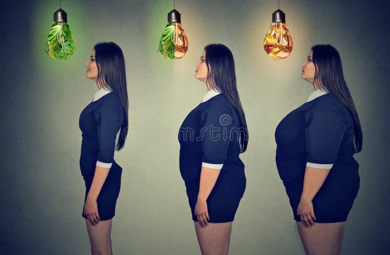 Förlust för vikt för kropp för kvinna` s före och efter Hälsovård och bantar begrepp arkivbild