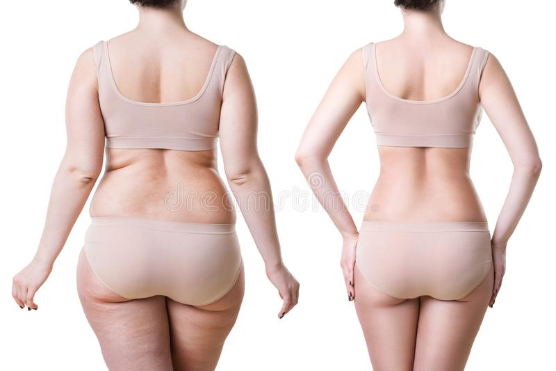 Förlust för vikt för kropp för kvinna` som s före och efter isoleras på vit bakgrund arkivbilder
