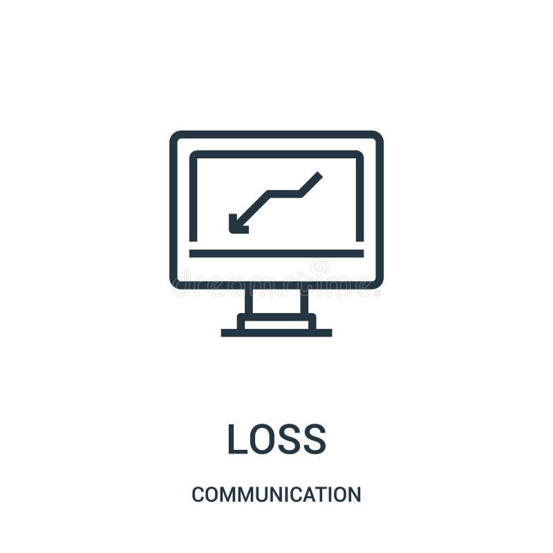 förlustsymbolsvektor från kommunikationssamling Tunn linje illustration för vektor för förlustöversiktssymbol Linjärt symbol för  vektor illustrationer