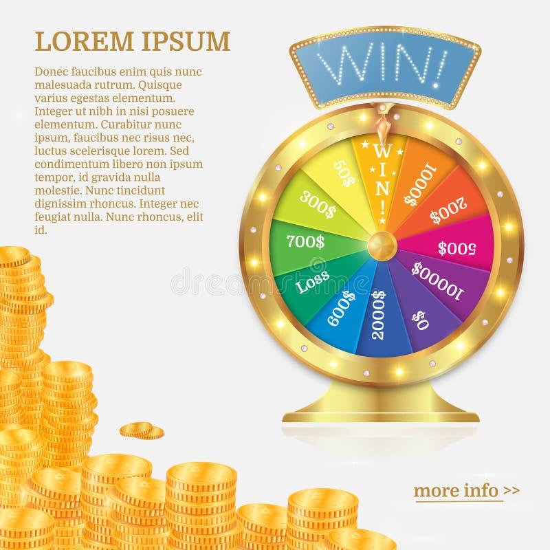 Förmögenhetsnurrhjul Dobbleribegrepp, segerjackpott i kasino vektor illustrationer