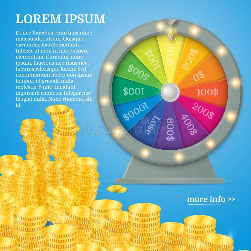 Förmögenhetsnurrhjul Dobbleribegrepp, segerjackpott i kasinoillustration royaltyfri illustrationer