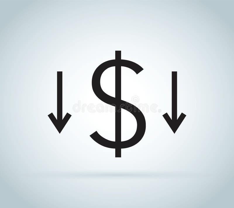 Förminska kostnadssymbolen Pengargemkonst som isoleras på vit bakgrund Kostnadsförminskningsbegrepp Cost besegrar royaltyfri illustrationer
