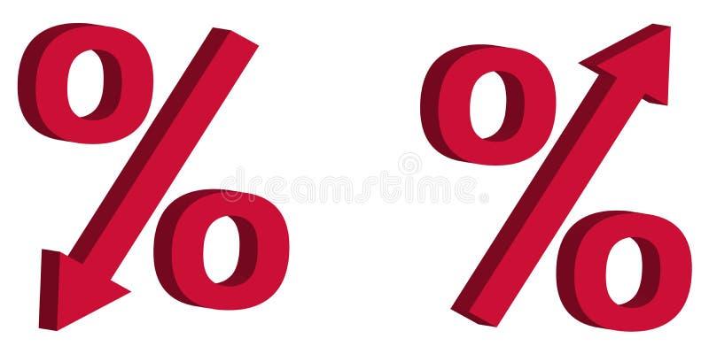 Förminskning för priset för symbolsrabattförsäljningen, räntesats för tecken 3D med pilen ner och up, begreppet av försäljningen  stock illustrationer
