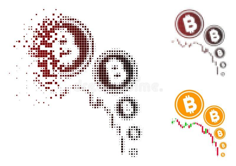 Förmultnad för Bitcoin för PIXEL rastrerad symbol för diagram deflation royaltyfri illustrationer