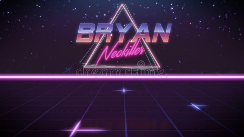 förnamn Bryan i synthwavestil stock illustrationer