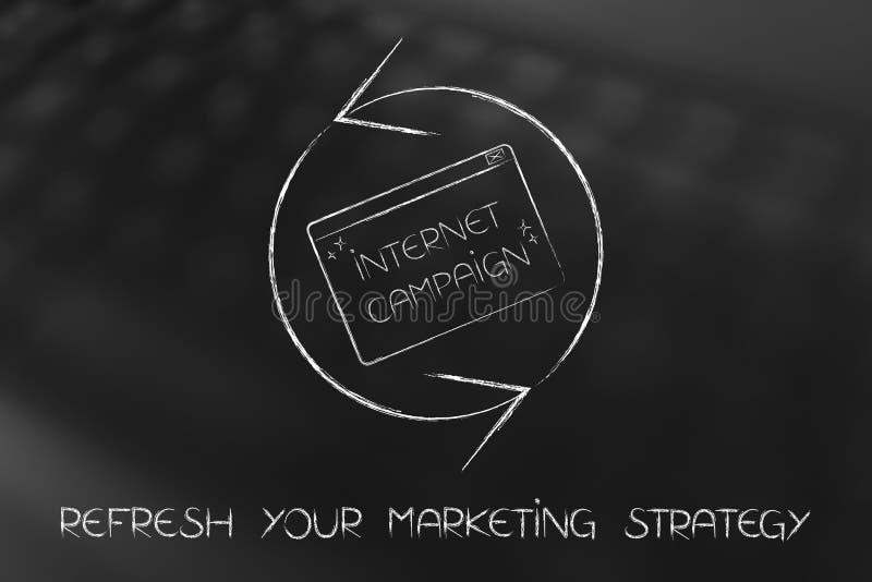 Förnya symbolet med internetaktionpopet-upp, marknadsföringsstrategi royaltyfri illustrationer