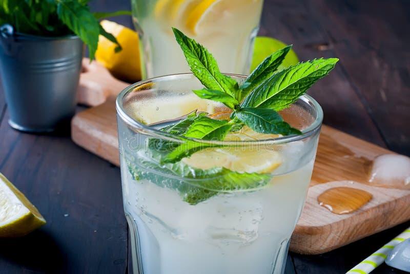 förnyande drink för sommar med citronen och mintkaramellen, mojito arkivbilder