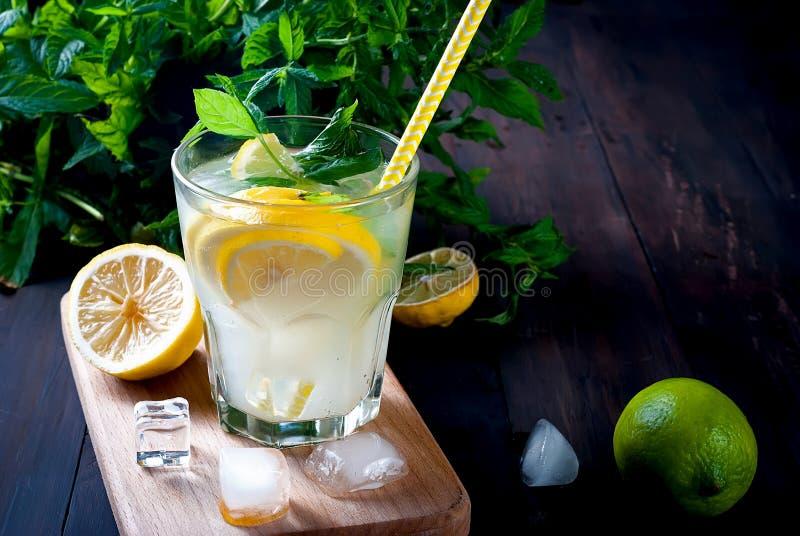 förnyande drink för sommar med citronen och mintkaramellen, mojito arkivfoto