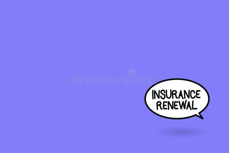Förnyande för försäkring för ordhandstiltext Affärsidéen för skydd från finansiell förlust fortsätter överenskommelsen stock illustrationer