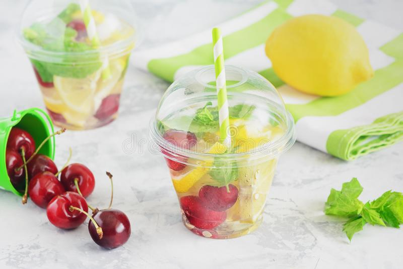 Förnyande fruktvatten med citrusa Berry Mint royaltyfria bilder