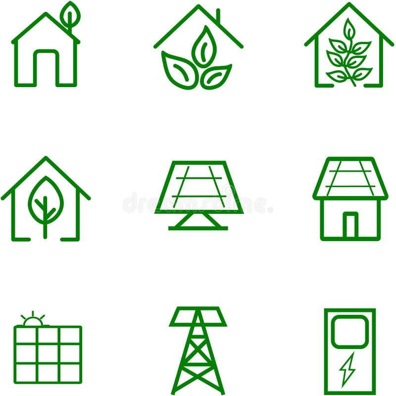 Förnyandeenergi av solen för design stock illustrationer