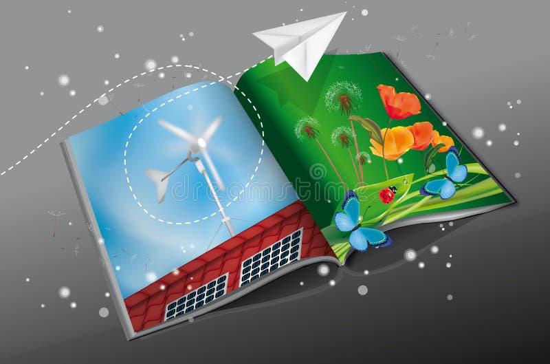 Förnybar energitidskrift royaltyfri illustrationer