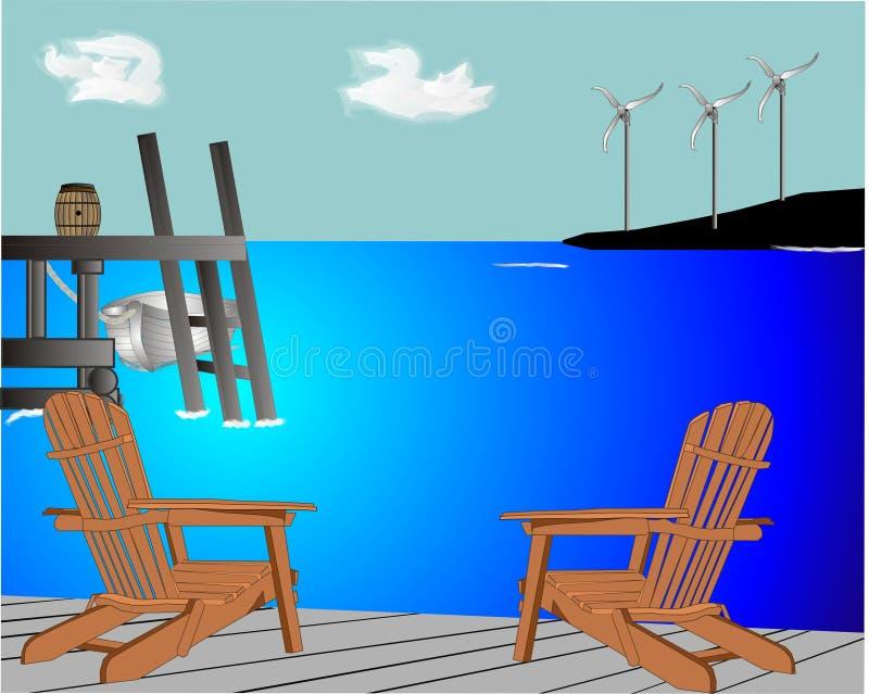 förnybar wind för energilantgårdström stock illustrationer