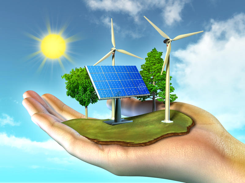 Förnybara energikällor stock illustrationer
