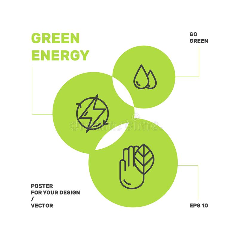 Förnybara energikällor hållbar teknologi, återvinning, ekologilösningar royaltyfri illustrationer