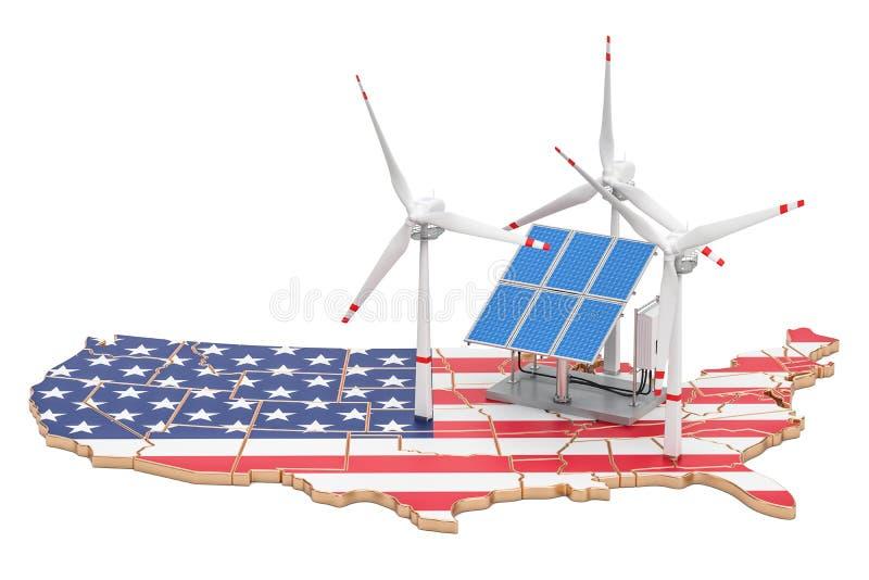 Förnybara energikällor och hållbar utveckling i USA, begrepp 3d stock illustrationer