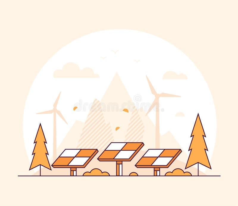 Förnybara energikällor - tunn linje illustration för designstilvektor stock illustrationer