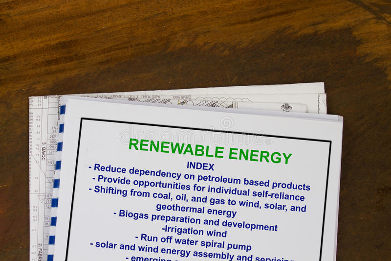 Förnybara energikällorbegrepp - med indexet av ämnet gällde ämnen royaltyfri fotografi
