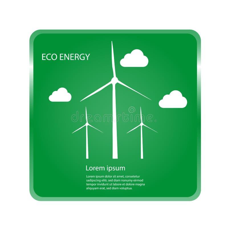 Förnybara energikällorbegrepp - vindturbiner och moln med grön bakgrund stock illustrationer