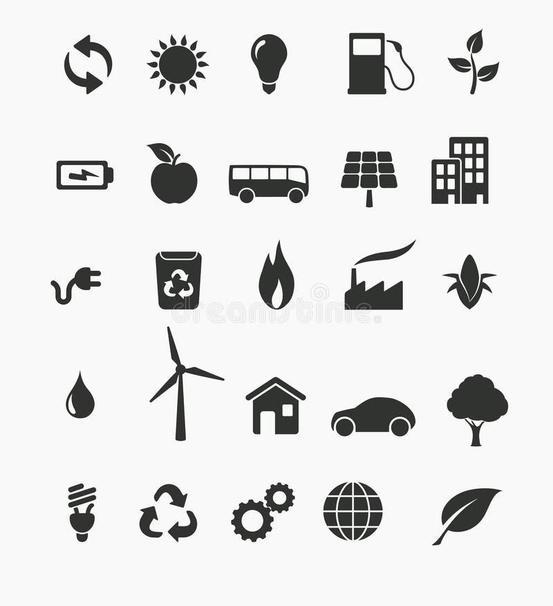 Förnybara energikällorsymbolsuppsättning vektor illustrationer