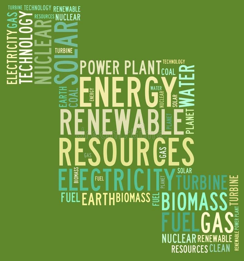 Förnybara resurser för energi stock illustrationer