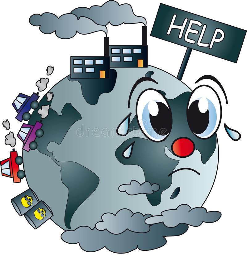 förorenad värld stock illustrationer