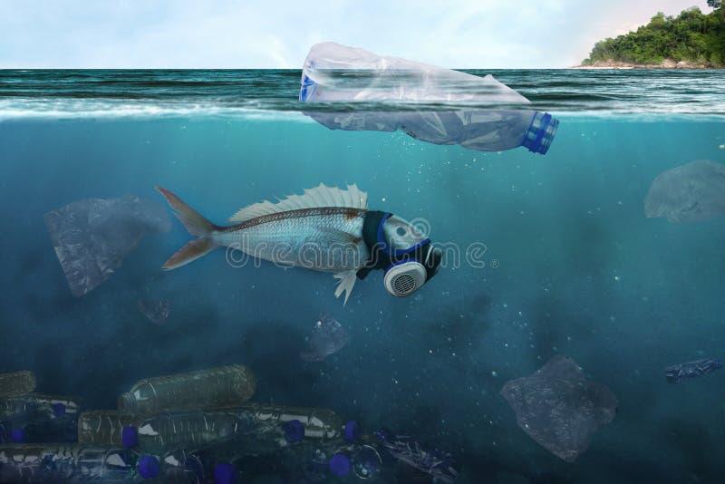 Förorening av bransch och den dåliga miljön i havet arkivfoto