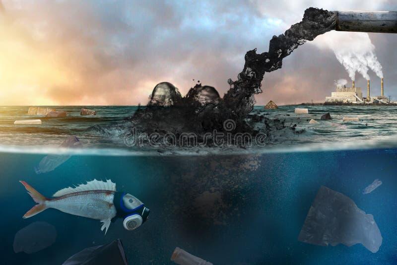 Förorening av bransch och den dåliga miljön i havet royaltyfria foton
