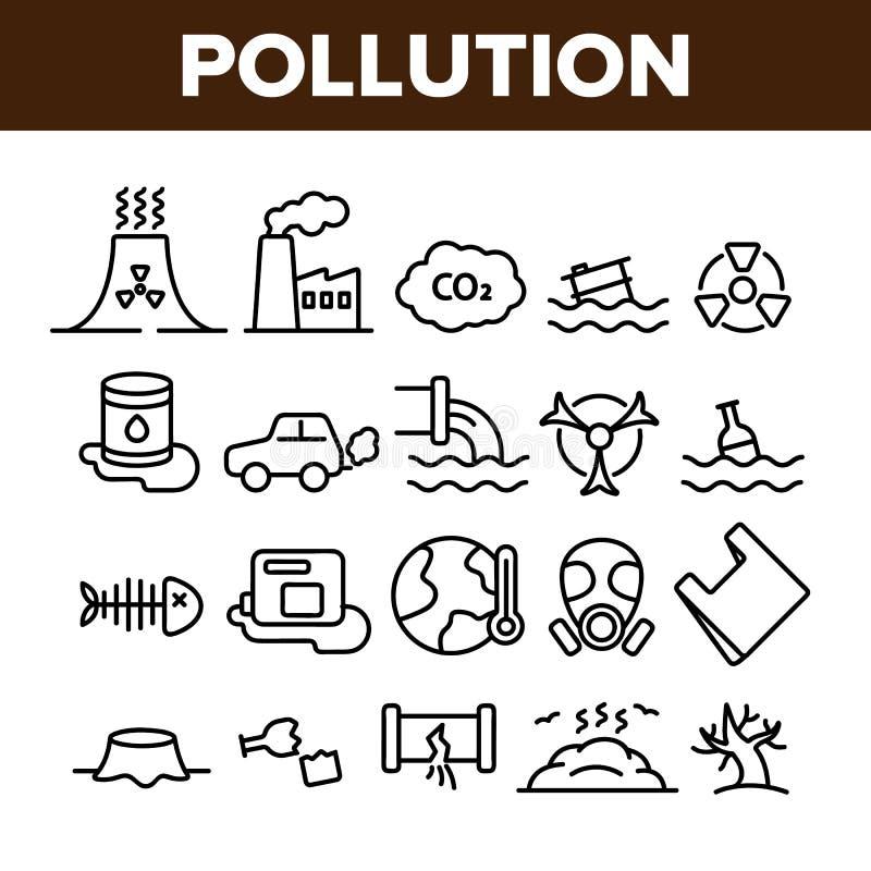 Förorening av den tunna linjen symbolsuppsättning för miljövektor vektor illustrationer