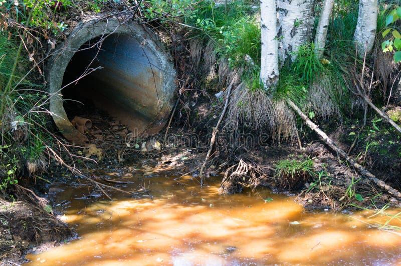Förorening av kloak Förorening av naturen med giftliga kemikalieer från röret Ekologiska problem, ekologisk katastrof arkivfoton