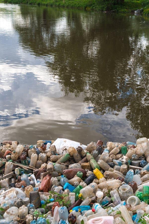 Förorening av sjön, sötvatten Plast- avfall, smutsig avfalls på stranden på en sommardag härlig natur och peoplelessness royaltyfri fotografi