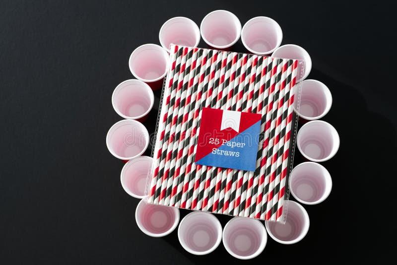 Förorening för förnybar resurs för kopp för drink för nedgrävning av sopor för pappers- sugrörmiljö vänlig biologiskt nedbrytbar royaltyfria foton
