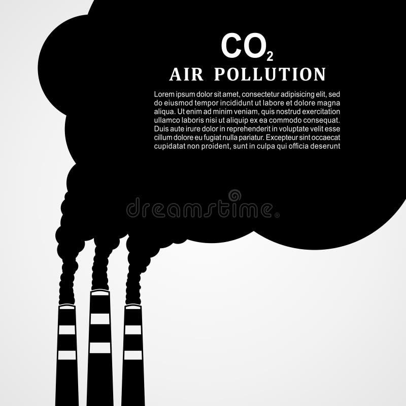 förorening för fabrik för luftbakgrund blå Fabrik eller kraftverk som sänder ut rök Röka fabriksbegrepp i plan stil också vektor  royaltyfri illustrationer