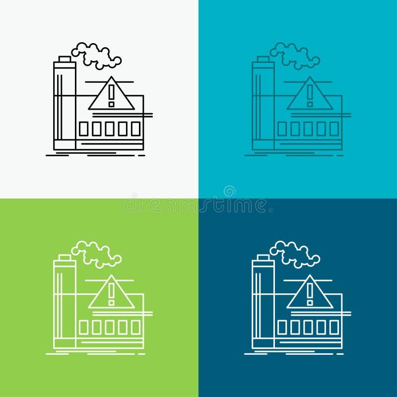 förorening fabrik, luft, varning, branschsymbol över olik bakgrund Linje stildesign som planl?ggs f?r reng?ringsduk och app Vekto stock illustrationer